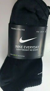 NIKE Everyday LIGHTWEIGHT / NO SHOW / Socks / Youth 5Y-7Y / All BLACK / 6 Pack