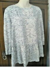 NEXT TOP, 22, NEW, BNWT,  CREAM BLUE BROWN DITSY FABRIC, ELBOW SLEEVE,