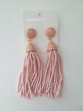 NEW Pink Tassel Earrings Classic Beaded Long Pinata Fringe Drop Pendant Fashion