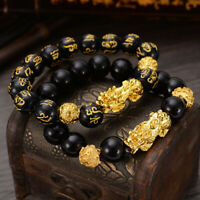 Feng Shui Black Bead Alloy Wealth Bracelet with Golden Pixiu Charms Jewelry Fast