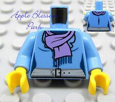 NEW Lego Female/Girl Medium Blue MINIFIG TORSO w/Med Purple Scarf & Gray Belt