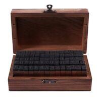 Rubber Stamp Alphabet Number Symbol Wooden Box Set Print Style Wood Letter 70 CQ