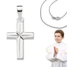 Kinder und Jungen Kreuz Anhänger zur Kommunion Echt Silber 925 mit Hals Kette
