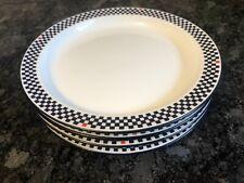 "Dansk Side Plates 7 1/4"" Black Checkerboard Boarder Pattern Bistro Portugal"