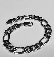 """10kt White Gold Handmade Figaro Curb Link Mens Bracelet 8.5"""" 42 Grams 12MM"""