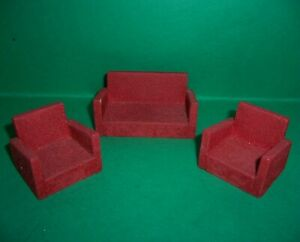 VINTAGE DOLLS HOUSE EARLY BARTON FLOCKED WOOD LOUNGE SUITE 16th LUNDBY SCALE