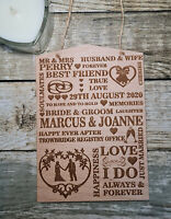 PERSONALISED ENGRAVED WEDDING GIFT PLAQUE OAK VALENTINES BRIDE PRESENT SIGN