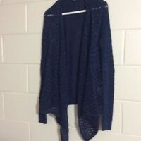 American Eagle Outfitters Womens Cardigan Sweater Blue Long Sleeve Open Front L