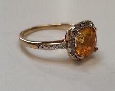 Genuine Citrine & Diamond Gemstone 18k Gold 925 Sterling Silver Ring  NEW Size 6