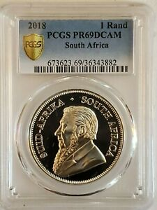 2018 South African Silver Krugerrand PCGS PR 69 DCAM 1 Rand Gold Shield
