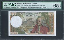 FRANCE 10 Francs 1967-71 P147c Graded PMG 65 EPQ