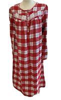 Croft & Barrow Women's Red Plaid Flannel Nightgown Size S, M, L - NWT