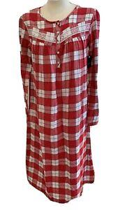 Croft & Barrow Women's Red Plaid Flannel Nightgown Plus Size 1X - NWT