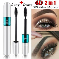 4D Silk Fiber Eyelash Mascara Extension Makeup Black Waterproof Eye Lashes 2in1