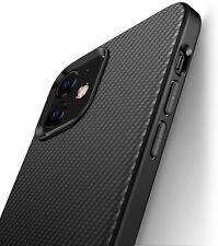iPhone 12 / 12 Pro Hülle Schutzhülle Silikon TPU Slim Case Schwarz Carbon Optik