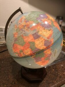 "The Classica From Cram 12"" Illuminated World Globe w/ wooden base"