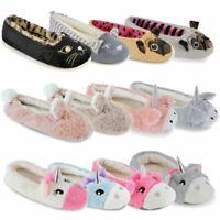 Womens Slip On Ballet Ballerina Mules Slippers Socks House Shoes Ladies Girls