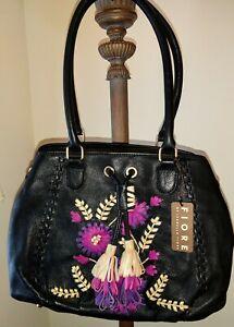Isabella Fiore Black Leather Floral Boho Embroidered Satchel Shoulder Bag