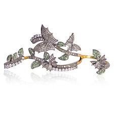 Oxidized Four Finger Butterfly Ring Pave Diamond Tsavorite Gemstone 925 Silver