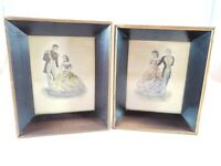 Set of 2 Vintage Framed A Lambert Product Framed Prints Formal Couples #400 4x5""