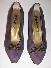 Yves Saint Laurent Shoes Purple Suede Classic Ysl Metal Bow Vintage 1980's 6