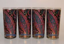 Culver Black, Purple, Green & Gold Accents Paisley Highball Glasses Lot of 4