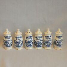 VTG Set Six Blue White Spice Jars Shaker Japan Floral Trees Blue Onion Ceramic