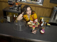 2 Broke Girls 8X10 waitress outfit from show posing with cupcakes 2