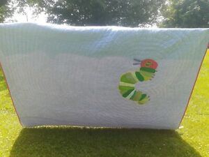 Eric Carle Hungry Caterpillar Quilt, Pottery Barn, Twin Size, Blue & Red Checker