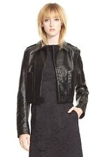NEW $498 MARC BY MARC JACOBS BLACK CRINKLE COATED MILITARY JACKET 6 (S)