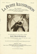 RARE EO FRITZ LANG LA PETITE ILLUSTRATION N° 372 / CINEMA N° 11 1928 MÉTROPOLIS