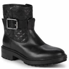 Aquatalia Launa Quilted Buckle Biker Moto Black Leather Boot 8.5 M Womens ITALY