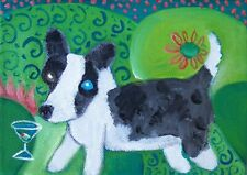 Aceo Cardigan Welsh Corgi Martini Dog Collectible Signed Art Card Print by Ksams