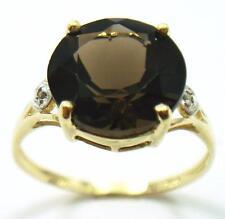 FAB 10KT YELLOW GOLD ROUND 10MM SMOKEY TOPAZ & DIAMOND RING  SIZE 7   R1424