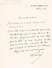 """France PM President Raymond Poincaré 1860-1934 autograph signed 5""""x7"""" letter"""