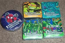 TMNT Turtles Spiderman Lot of 5 Different Magic Towels Washcloths