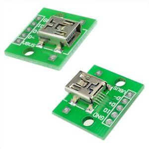 2 x USB Mini Female Socket Breakout Board 2.54mm Pitch Adapter Connector DIP