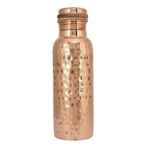 Indian Designer Hammered Copper Water Bottle With Round Lid For School College