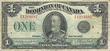 Dominion Of Canada $1 1923 Black Seal Group 4 King George V ~ Nice Problem-Free