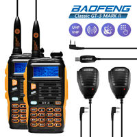 2x Baofeng GT-3 MarkII Dual-Band Two-way Radio Ham Transceiver + PTT Mic + Cable