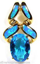 18K Gold Plated 925 Sterling Silver Blue Fire Opal & Blue Topaz Pendant Necklace
