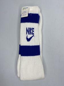 """Brand New Nike Socks Vtg Tube Old Swoosh Logo Blue Stripes Bars 70s 80s Soft 19"""""""
