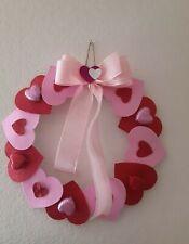 VALENTINES DAY❤️ HEART DOOR WREATH HANGING SWAG GLITTER PINK RED HEART