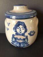 M A Hadley Jar Lidded Handled Jam Sugar Bowl Girl in Dress Blue Vtg Art Pottery