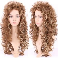 2016 Women Long Curly Hair Wig Fluffy Wave Black Women Dress Heat Ressitant Wigs