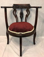 Antique Carved Wood Round Corner Chair Victorian Georgian III Red Velvet Cushion