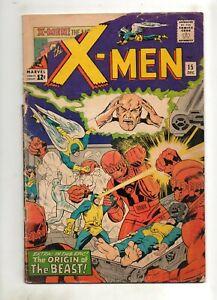 X-Men #15 1ST APPEARANCE The SENTINELS! ORIGIN The BEAST! Low Grade 1965