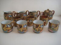 Japanes Satsuma style vintage porcelain - hand painted and gilded
