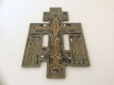 ANTIQUE 19TH CENTURY RUSSIAN BLESSING CROSS - BRASS AND ENAMEL - NICE SIZE