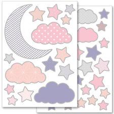 """Wandkings Wandsticker """"Mond und Sterne"""" 2x A4 Set Aufkleber Sticker Deko"""